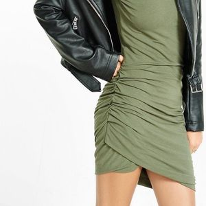 Express Dress Olive Green Ruched